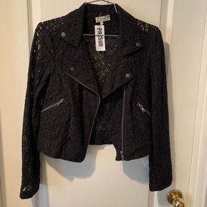 Black lace moto jacket with tag still on!